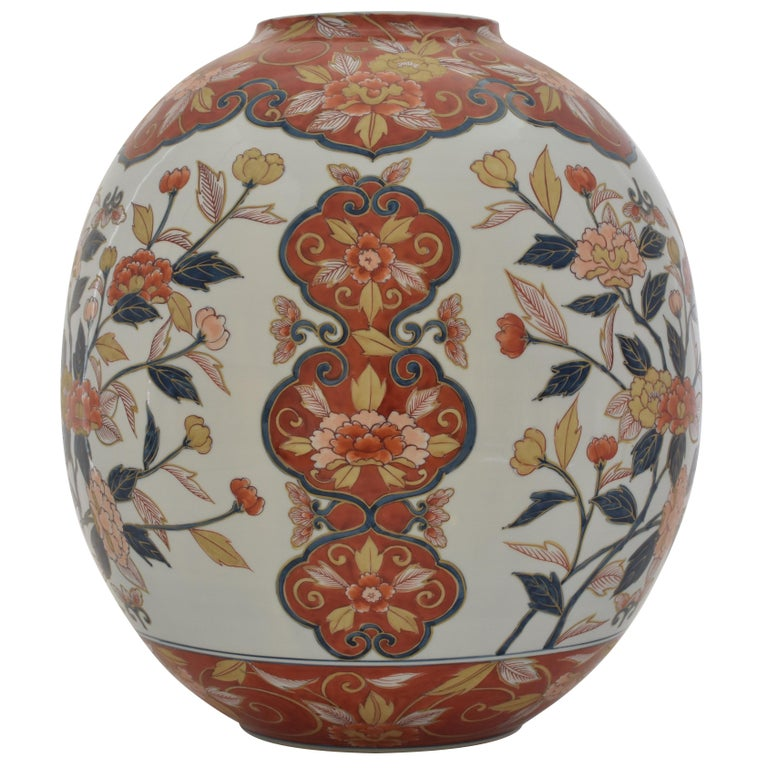 Very Large Contemporary  Red  White Imari Porcelain Vase by Master Artist