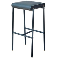 'Jacqueline' Bar Stool, Leather-Wrapped and Hand-Stitched, with Upholstered seat