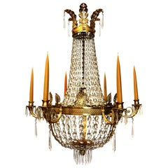 Period and Original Early 19th Century Empire Ormolu Chandelier
