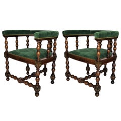 Pair of Barrel Back Jacobean Style Library Chairs with Emerald Green Velvet