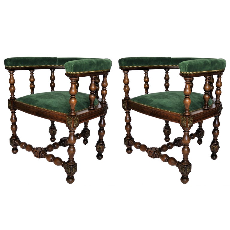 Pair of Barrel Back Jacobean Style Library Chairs with Emerald Green Velvet For Sale