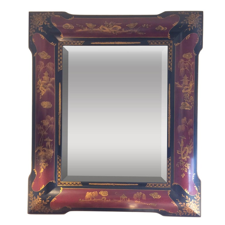 Elegant Chinoiserie Style Hand Painted Mirror For Sale At