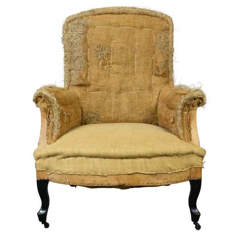 French 19th Century Armchair in Burlap For Sale