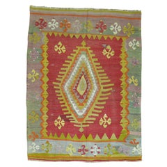 Vintage Kilim with Central Medallion
