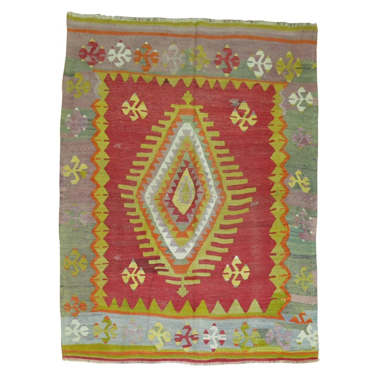 Banded Kilim With Wings At 1stdibs