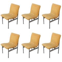 Set of Six Modern Stainless Steel Dining Chairs Milo Baughman Style