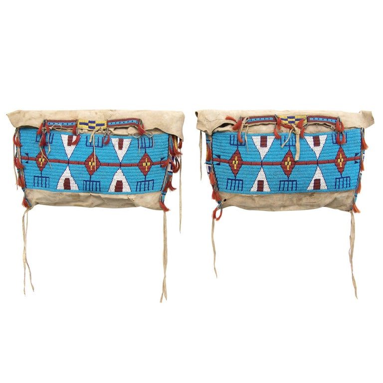 Antique Native American Beaded Possible Bags, Sioux, 19th Century