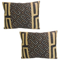 Pair of Vintage Yellow and Black African Artisanal Embroidered Accent Pillows