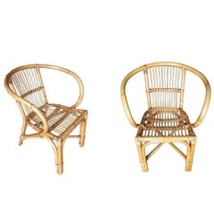 Restored Mid-Century Swoop Armchair Stick Rattan, Set of Two