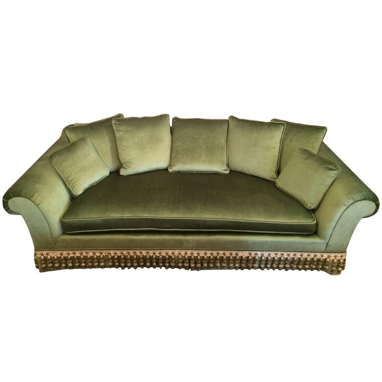 Very Elegant French Sofa Reupholstered in Silk Velvet