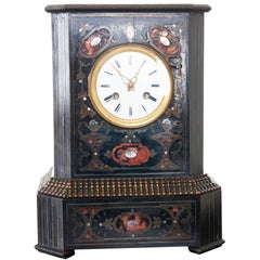 French Table Clock of Ebonized Wood with Brass & Shell Inlay
