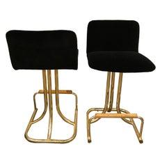Set of Two DIA Mid-Century Modern Black Velvet, Brass and Wood Bar Stools