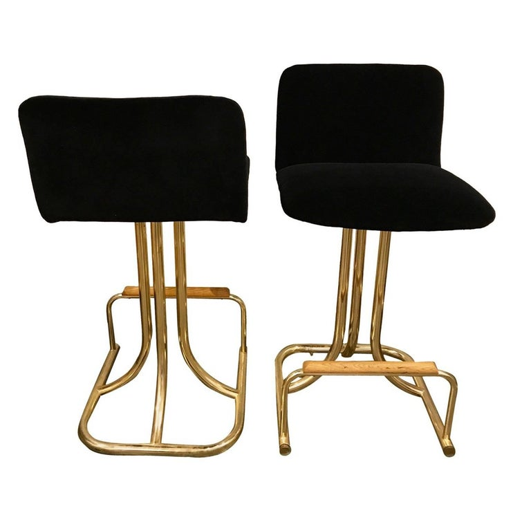 Set of Two DIA Mid-Century Modern Black Velvet, Brass and Wood Bar Stools For Sale
