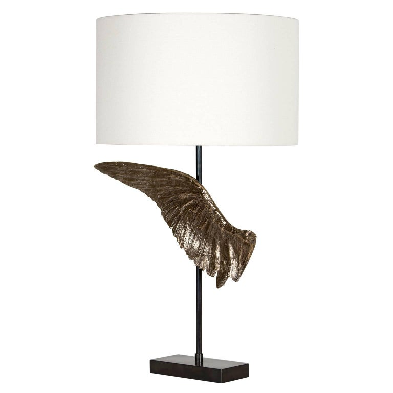 Voltaire Bronze Table Lamp, Contemporary Sculptural Wing Lamp