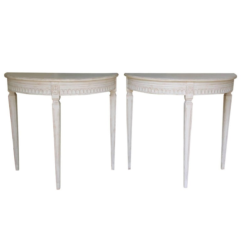 19th Century Pair of Swedish Gustavian Bedside Demilune Console Tables
