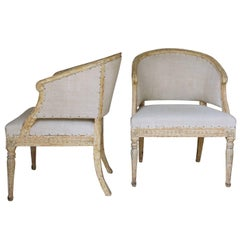 18th Century Pair of Swedish Gustavian Original Paint Barrel Back Armchairs