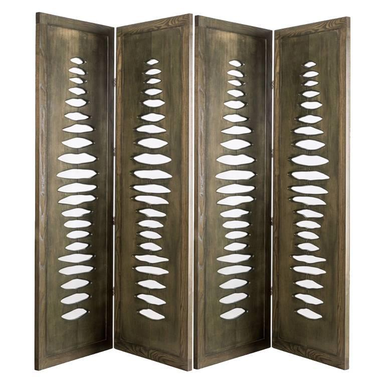 'Navajo' Sculptural Screen Space Divider in Solid Wood by Vivian Carbonell For Sale