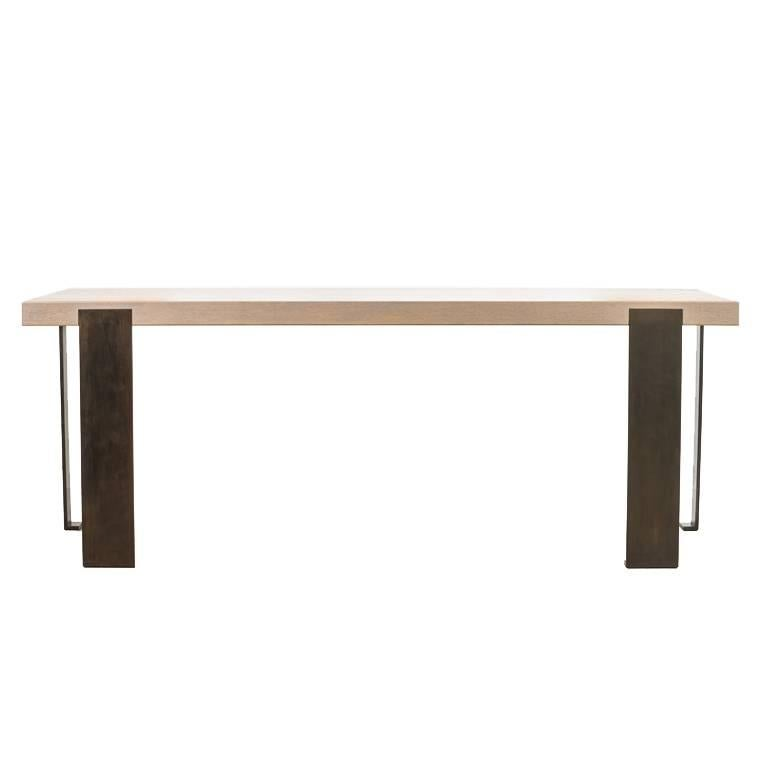 Contemporary Desk Solid Oak and Blackened Steel Legs by Carbonell Design