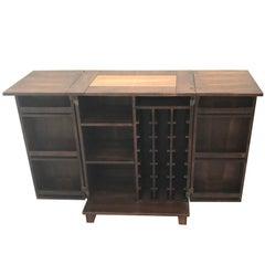 Mahogany Copper Folding Bar Cabinet