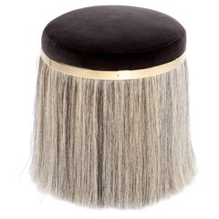 Contemporary 'Thing 1' Stool Pouf Ottoman with Brass and Horsehair by Konekt