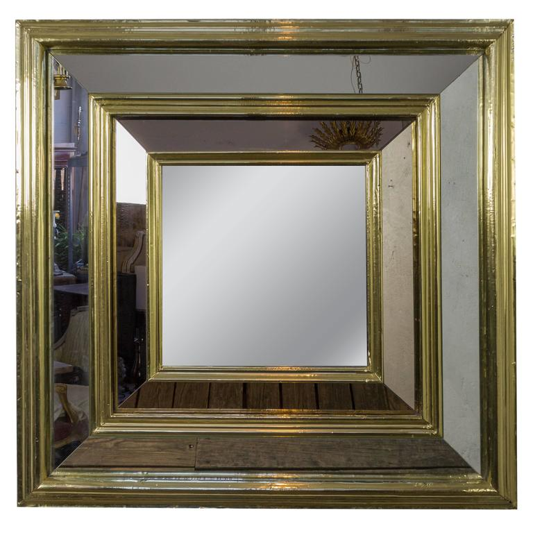 Large french 1980s square brass framed mirror for sale at for Large framed mirrors for sale