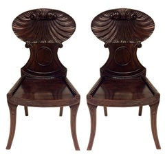 Pair of Large English Regency Style Mahogany Hall Chairs