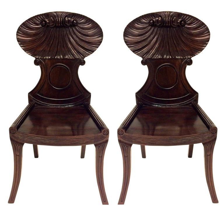 Pair of Large English Regency Style Mahogany Hall Chairs 1