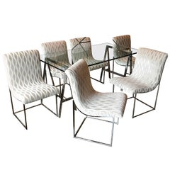 Milo Baughman for Thayer Coggin Upholstered Scoop Chrome Dining Chair Set