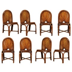 Spectacular Restored Set of Eight Rattan and Bamboo Chairs, circa 1975