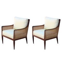 Pair of Modern Kipp Stewart for Directional Cane Lounge Chairs
