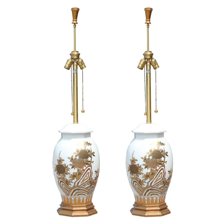 Pair of Large White Ceramic Table Lamps by Marbro with Gold Floral Detailing