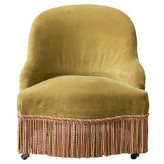 French 19th Century Slipper Chair in Green Velvet