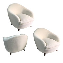 Set of Three Italian Armchairs with Curved Backs