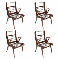 Set of Four 1950s Italian Mollino Style Armchairs or Dining Chairs