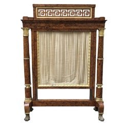 French Empire Burl Thuya Wood Fireplace Screen with Gilt Bronze Mounts 1810