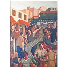 """Terminal Market, Bronx"" Large WPA-Period Mural Depicting Depression Era Life"