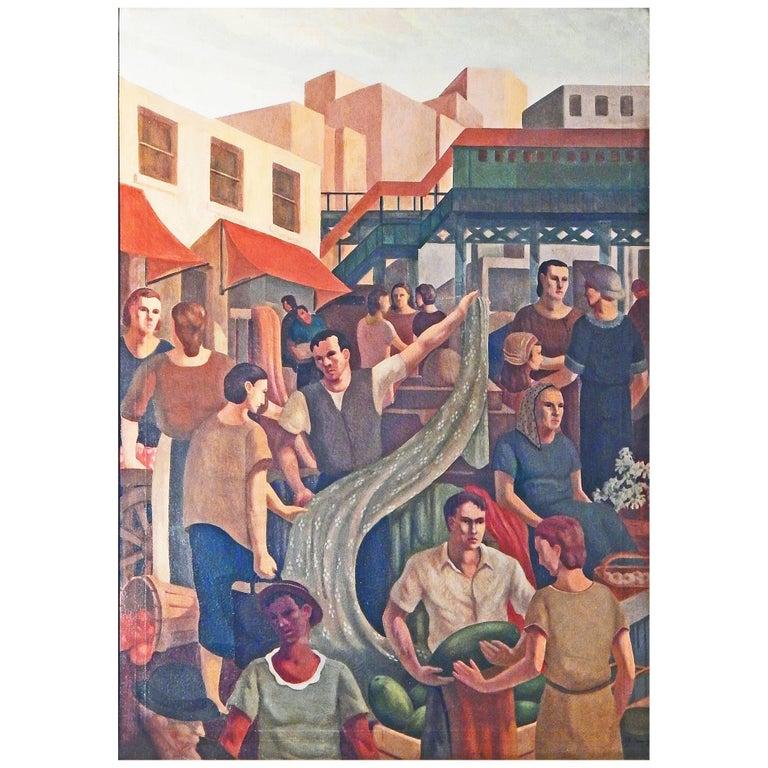 """""""Terminal Market, Bronx"""" Large WPA-Period Mural Depicting Depression Era Life"""