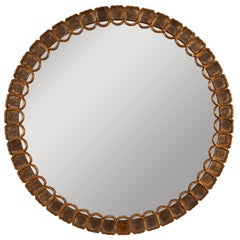 Italian Hand-Carved Wood Round Mirror, Silver Gold Leaf Accents, circa 1960
