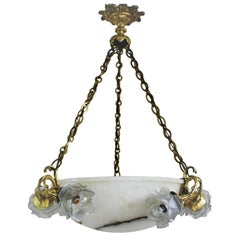 Large Alabaster and Bronze Pendant, France, circa 1900s