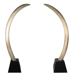 Pair of Midcentury Monumental Faux Elephant Tusks, circa 1960s-1970s