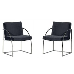 Pair of Milo Baughman Chrome Armchairs