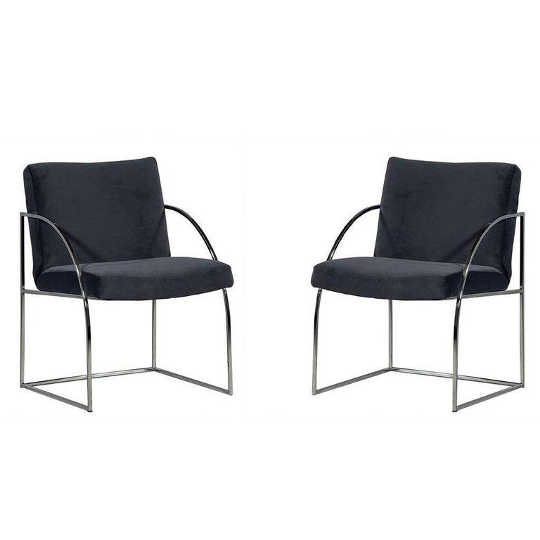Pair of Milo Baughman Chrome Armchairs
