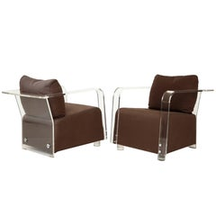 Sculptural Lucite Brown Lounge Chairs with Chrome Detailing, France, 1970s