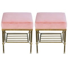 Pair of Modern Brass & Pink Velvet Square Ottomans in the Style of Maison Baguès