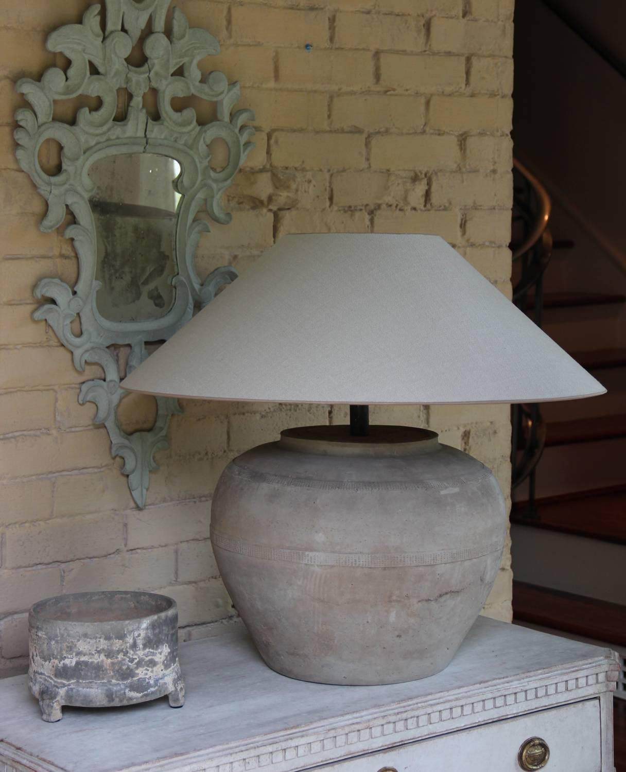 18th Century And Earlier Chinese Han Dynasty Large Unglazed Belly Jar As Table  Lamp For Sale