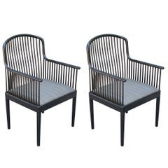 Pair of Modern Davis Allen for Knoll Black Exeter Lounge Chairs