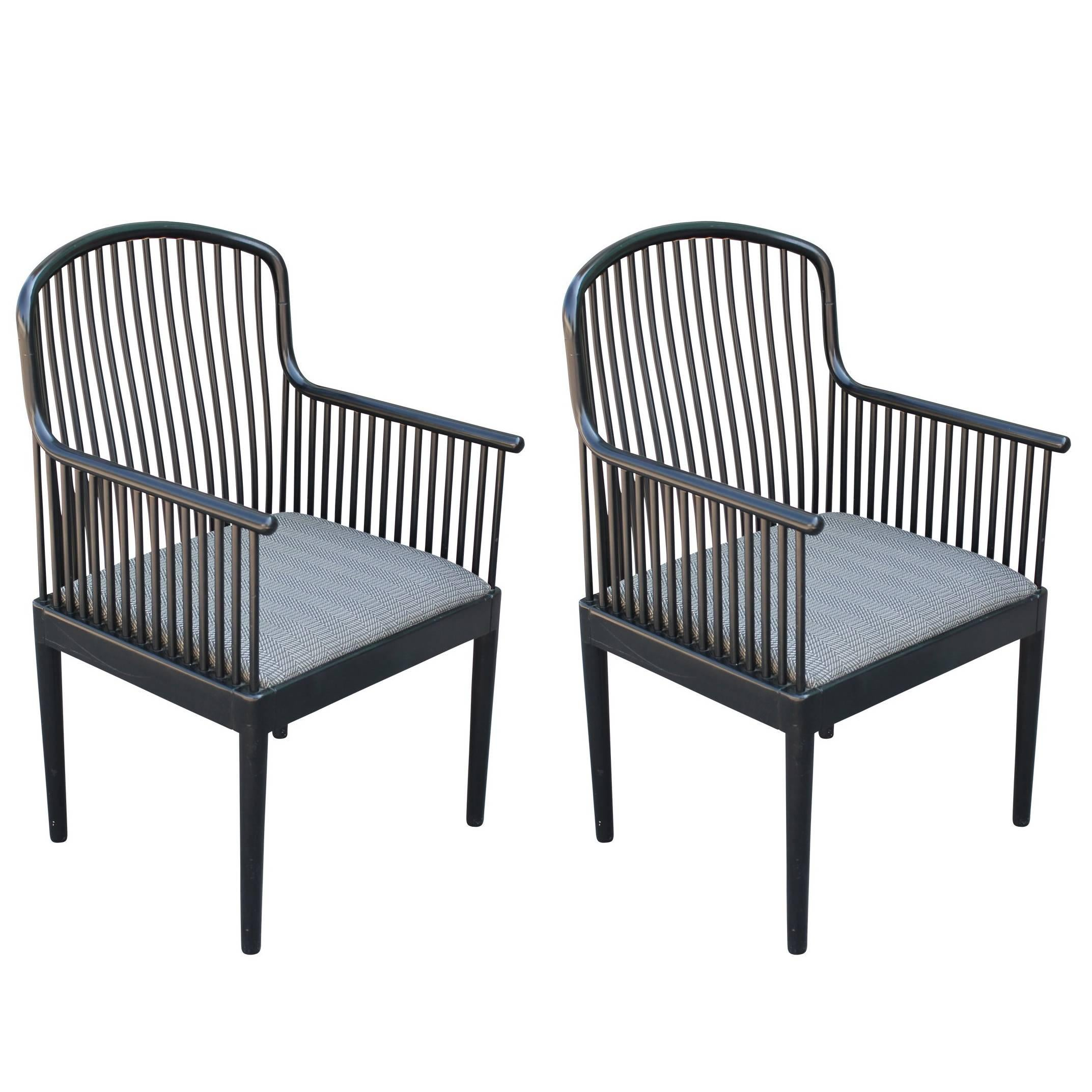 Pair Of Modern Davis Allen For Knoll Black Exeter Lounge Chairs 1