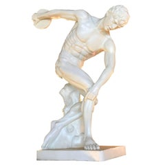 Neoclassical Style Fiberglass Life-sized Discus Thrower Sculpture