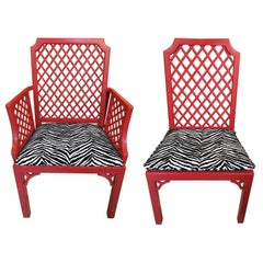 Late Midcentury American Set of Eight Red Painted Trellis Style Dining Chair