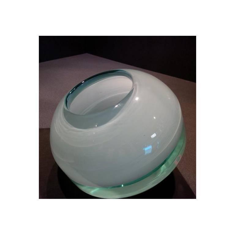 "Art Glass Sculpture ""Falling Vessel"" by Stanislav Libensksy ,polished aqua glass 4"